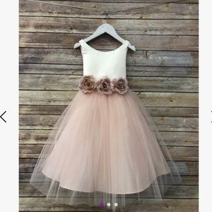 Ivory & Blush Floral-Appliqué Tulle-Overlay A-Line